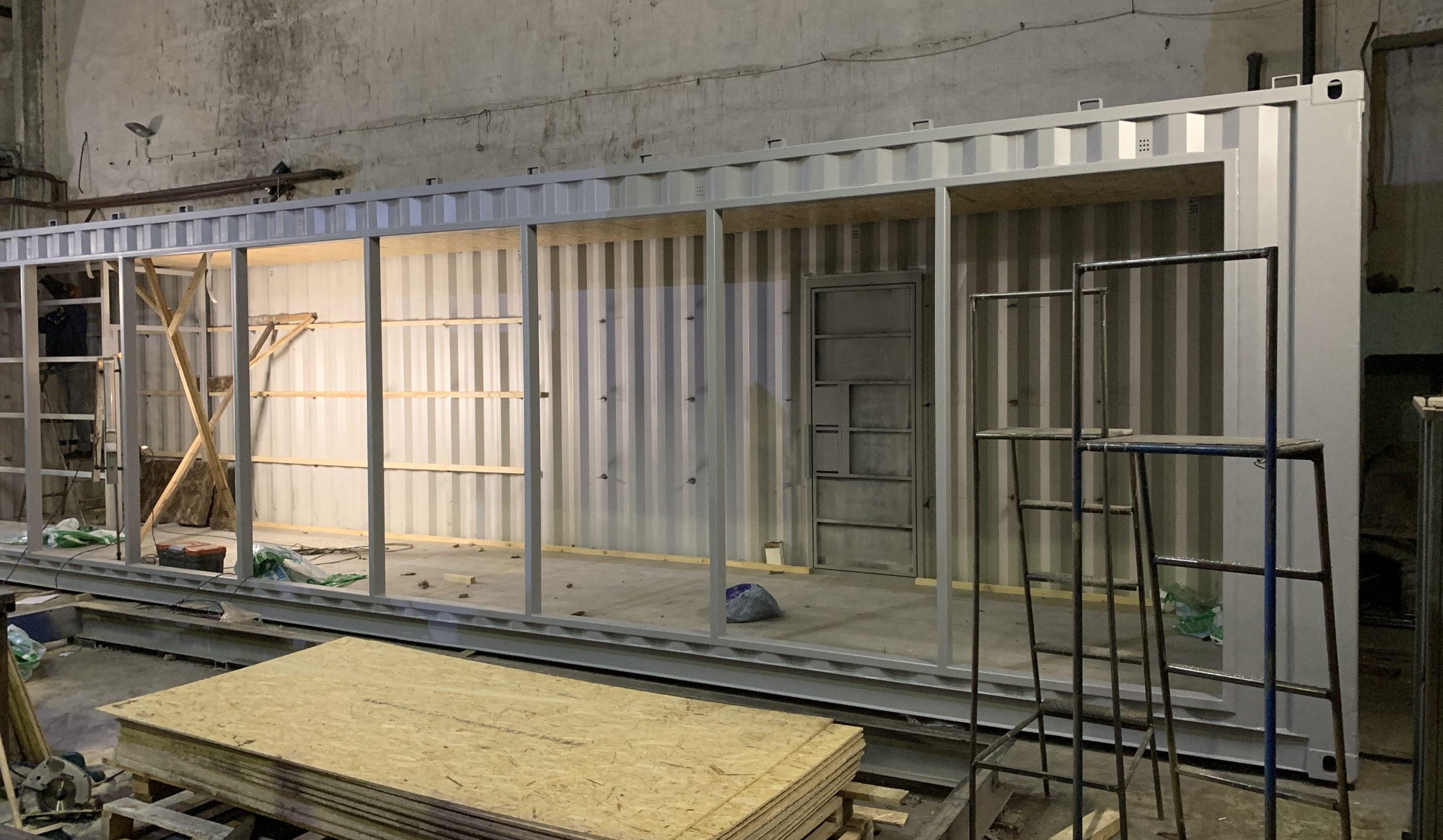 Переоборудование морского контейнера в магазин офис шоу рум