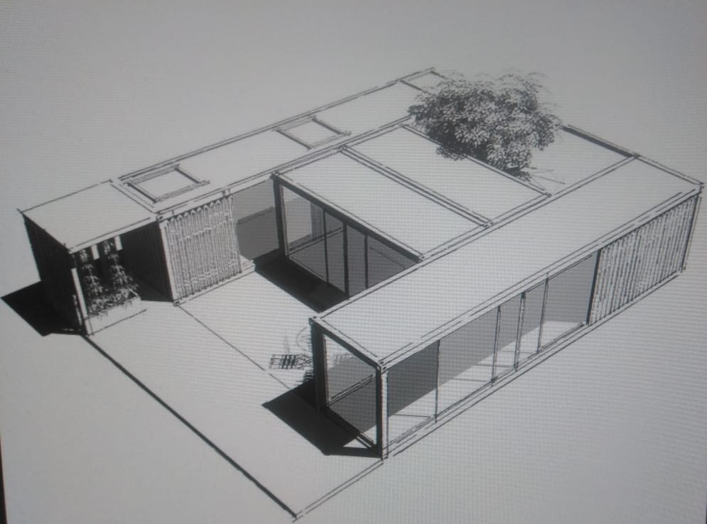 Эскиз модульного здания из морских контейнеров