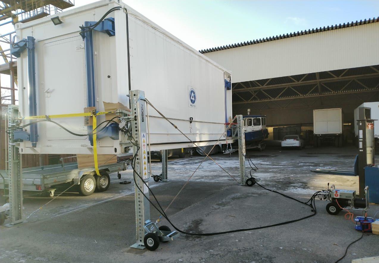 Электрогидравлические домкраты для контейнеров 32 тонны