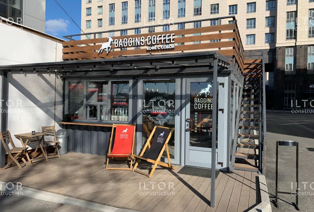 Кафе из контейнеров выполненный проект