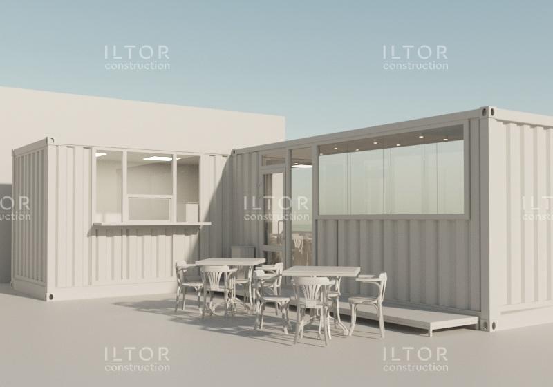 Проект летнего кафе из двух контейнеров