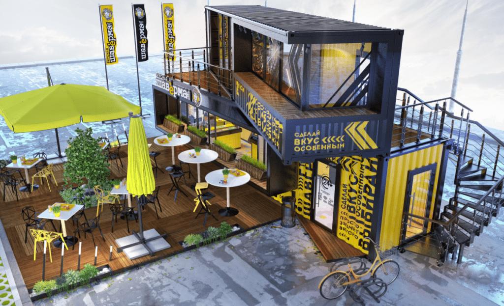 Проект кафе из двух 40 футовых контейнеров