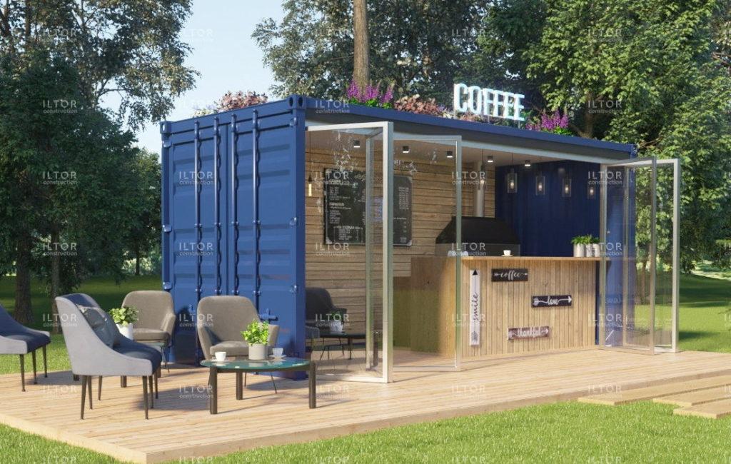 Кафе из контейнера с панорамным остеклением