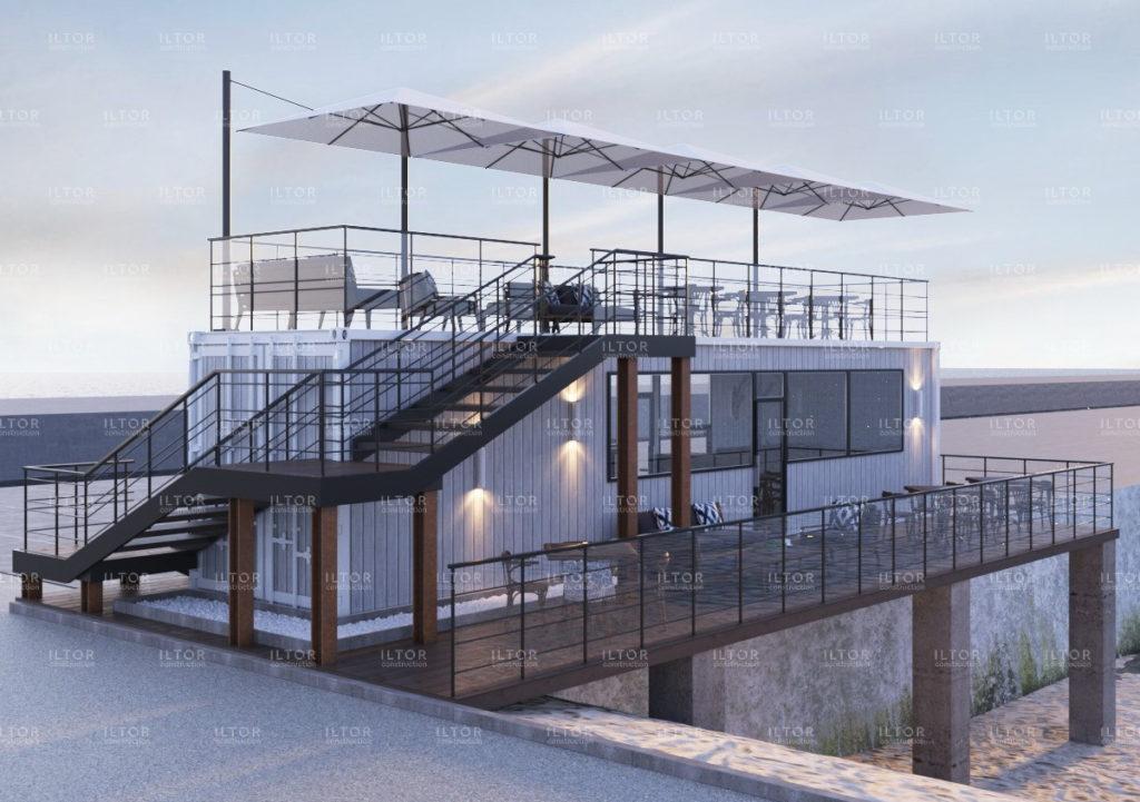 Проект кафе из 40 футового контейнера с террасой на крыше